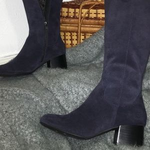 Born Navy Suede Heeled Boots